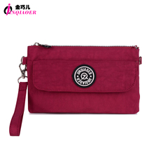 JINQIAOER Brand Nylon Wallet Double Layer Zipper Coin Pocket Organizer Purse Hand Bag Wristlet Clutch Slim Wallet For Girl