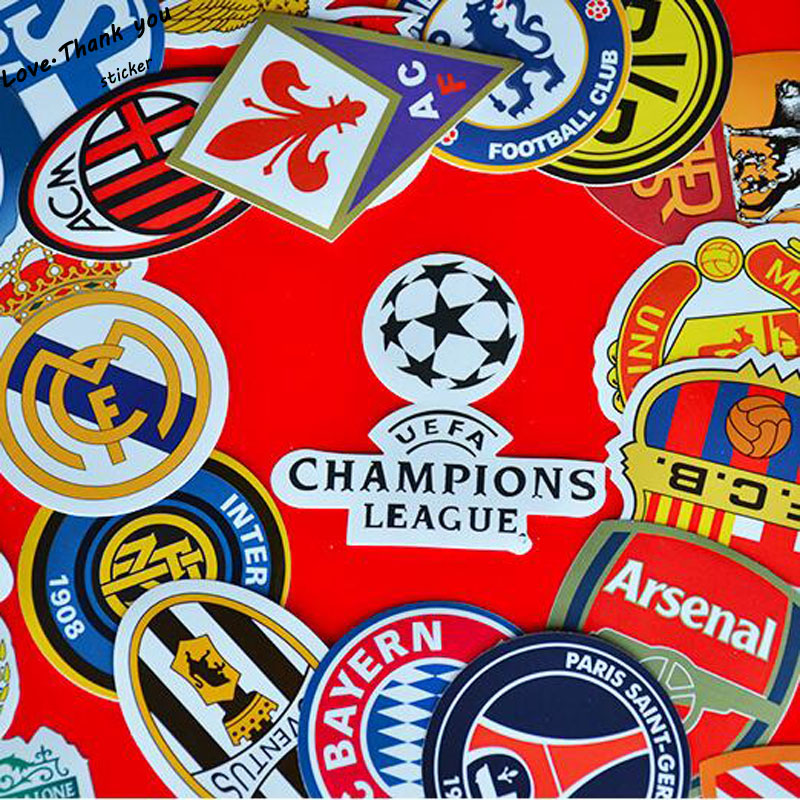 206323ff4424 50pcs lot DIY Creative stickers Graffiti Football Club Creative Hat Sticker  Skateboard Mobile Hand Luggage LaptopToys Stickers-in Stickers from Toys ...
