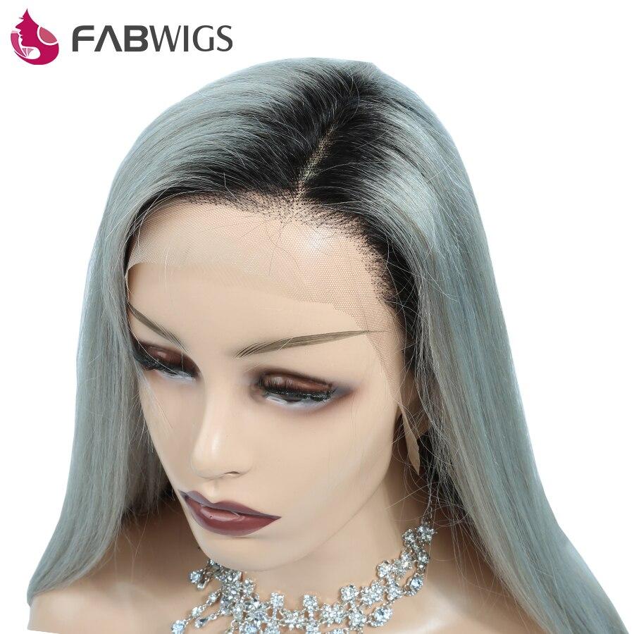 Fabwigs 1B Gris Ombre Cheveux Pleine Dentelle de Cheveux Humains Perruque avec bébé Cheveux Européenne Remy Perruques de Cheveux Humains pour les Femmes Pré Pincées