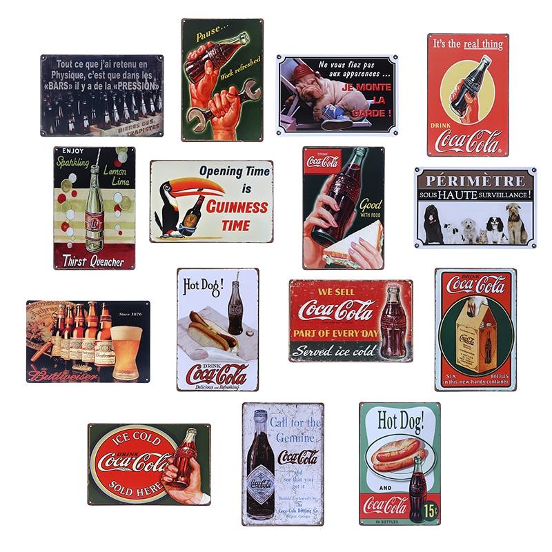 Vintage Wine Beer Coke Metal Tin Sign 30x20cm Shabby Chic Home Decor Pub  Bar Tavern Cafe