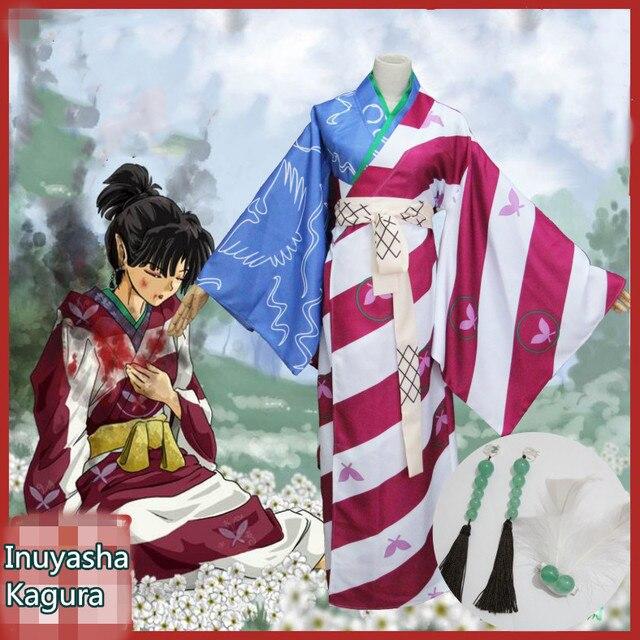 Anime Inuyasha Kagura Uniform Cosplay Costume Opening Rope Knot And Ending Circle Butterfly Printing Kimono