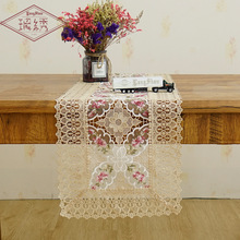 American Rural Personality Hollow Embroidery Table Cover Glassyarn Tablecloth Lace Edges Coffee Cloth Runner Home Decor