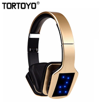 TORTOYO S650 Wireless Headphone Bluetooth Headset Stereo Over Ear Earphone With Microphone LED FM Radio For Smartphone Computer