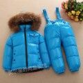 Diseño de color puro de Los Niños ropa set blanco abajo niños traje para la nieve del bebé niñas Niños chaquetas Ropa outwear traje para la nieve a prueba de agua