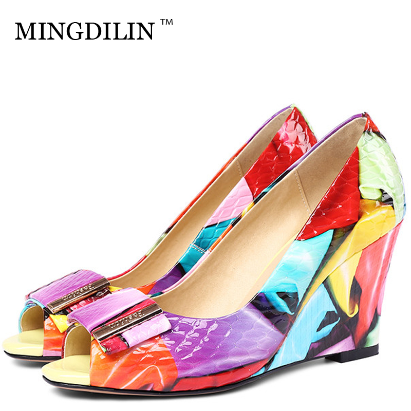 MINGDILIN Sexy Women's Wedges Shoes Woman High Heels Shoes Genuine Leather Plus Size 33 42 Peep Toe Wedding Party Pumps Stiletto aidocrystal plus size 35 43 sexy crystal peep toe wedding shoes rhinestone woman pumps open toe high heels