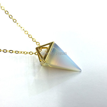 M603262651 Pyramid Spike Point Pendant Necklace Gold Chain Necklace Opal Stone Pendant Necklace