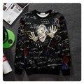 Горячие Продажи 3D Забавный Эйнштейн Лица Печати Толстовка Математика Формула Письмо Черный Топы Мужчины Женщины Творческий Crewneck Пуловер Верхняя Одежда