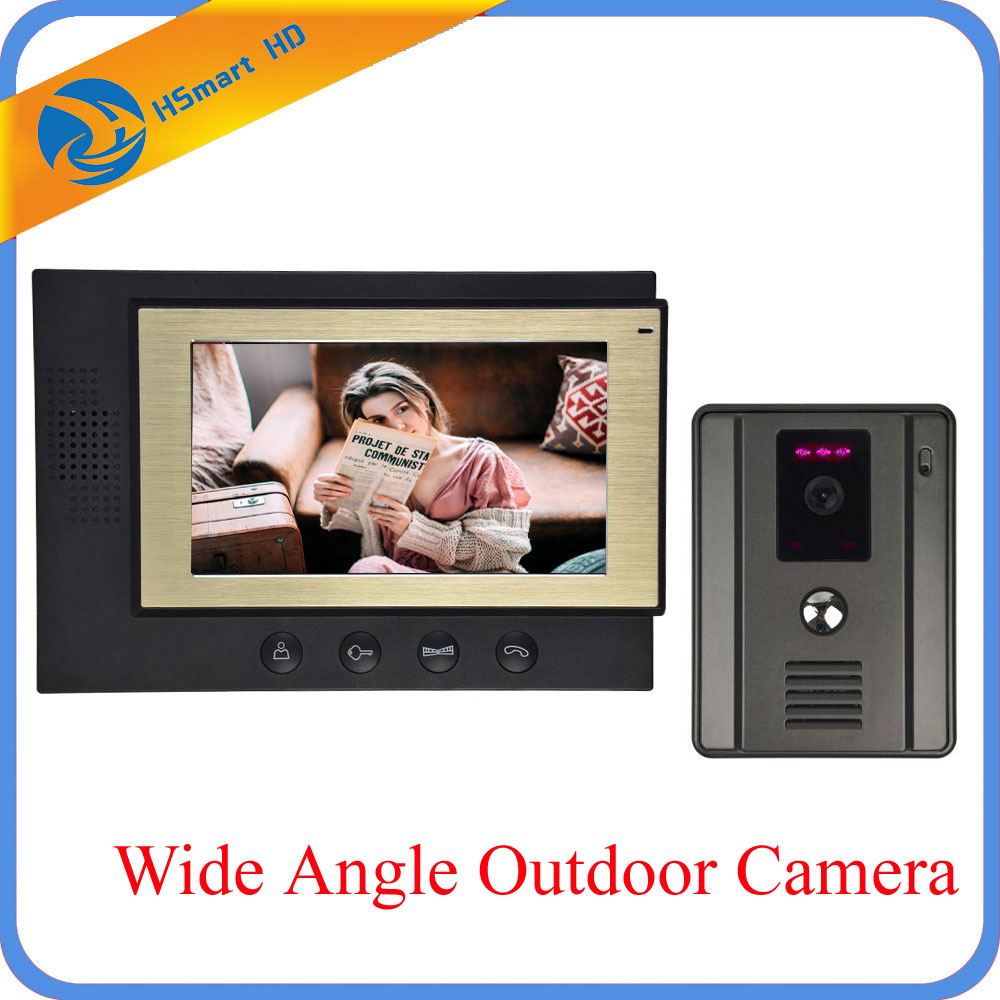 7 TFT LCD Monitor Video Door Phone Doorbell Intercom System 700TVL Waterproof Wide Angle Night Vision Outdoor Camera Doorphone 7inch video door phone intercom system for 5apartment tft lcd screen 5 flat indoor monitor with night vision cmos outdoor camera
