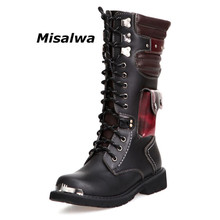Misalwa Fashion Concise Men Motorcycle Boots British Style Young Man Gothic Punk Mid-Calf Thick Black Lace-up Western Boot