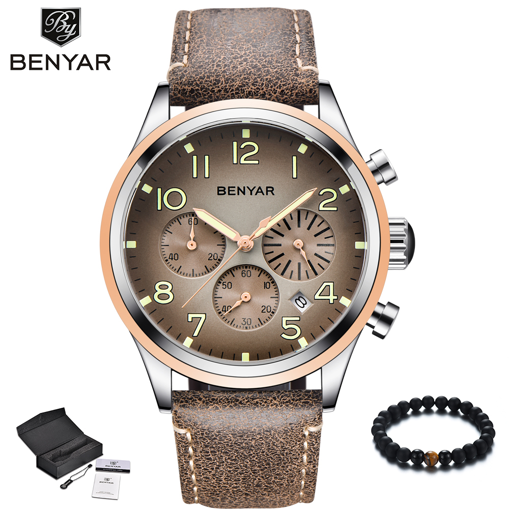 BENYAR New Men Watch Waterproof Sport Quartz