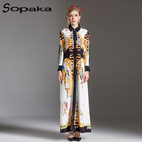 England Style 2018 Newest Full Sleeve White Vintage Floral Printing Loose Sashes Long S Dress Runway