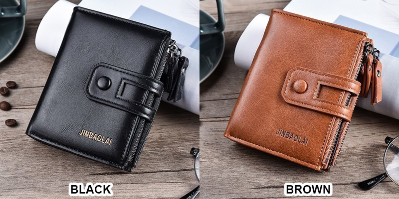 HTB1KA0ddi6guuRkSmLyq6AulFXab - JINBAOLA Men Wallet Brand Wallet Double Zipper&Hasp Design Small Wallet Male High Quality Short Card Holder Coin Purse Carteira