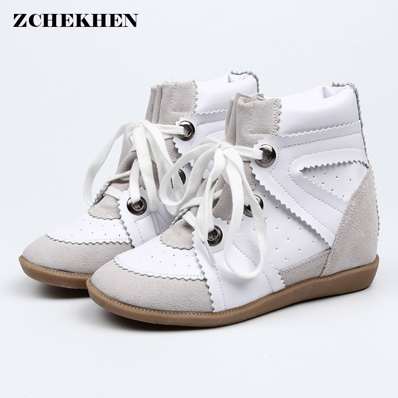2018 Designer Women cow suede Ankle Boots Female High Top Platform Hook Loop Height Increased Sneakers Casual Shoes Bottes