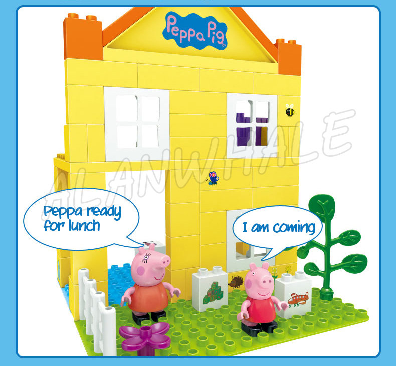 69pcs Peppa Luxury Big House Two-layer Villa Model Building Action Figures Assemble Children Toys Compatible With lego Duplo