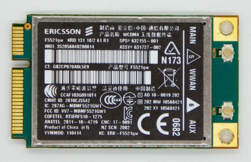 HS2340 F5521GW Modules Wireless 3G HSPA+ WWAN GPS Mini PCI-E Card 632155-001