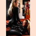 Fantasia Mulheres Jumpsuit Spandex Gato Sexy Trajes Meninas Ternos Do Corpo De Couro Fetiche Latex Catsuit Cosplay Menina Macacão