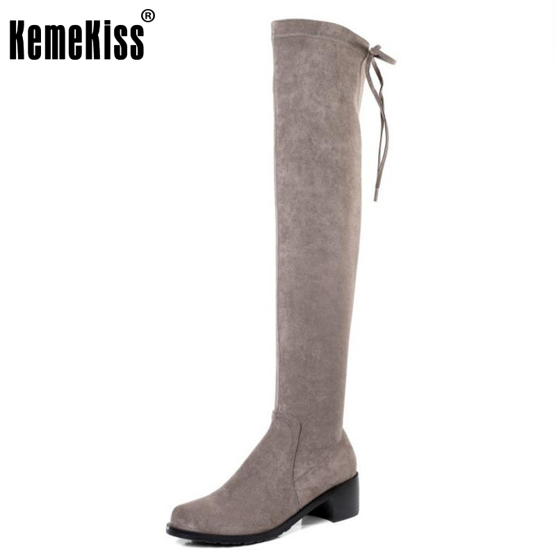 KemeKiss Women Real Leather Over Knee Boots Corss Strap Winter Shoes High Heel Boots Thigh Tight Botas Women Footwear Size 34-39 kemekiss women genuine leather elastic over knee boots high heel boots warm shoes in winter long botas women footwear size 34 39