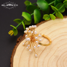 GLSEEVO Original Handmade Natural Fresh Water Pearl Snowflake Ring For Women Birthday Party Gift Ring Fine Jewelry GR0231