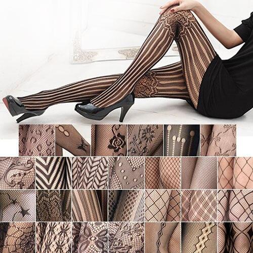 2017 Горячая Женская Мода Sexy Черная Сетка Pattern Жаккардовые Calcetines Гетры Чулки Колготки Колготки 27 Стиль
