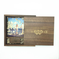 One Pcs Free LOGO High SpeedPhoto Album walnut Wood USB 3.0 +Box Pendrive USB flash drive 32GB 64GB Photography (170*170*35 mm)