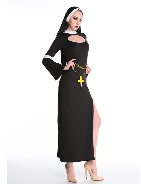 MOONIGHT Sexy Nun Costume Adult Women Cosplay Dress With Black Hood Halloween Costume Cosplay Party Costume 4