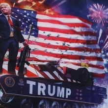150X90cm American President On The Tank Flag Polyester Banner Digital Print Big Hanging