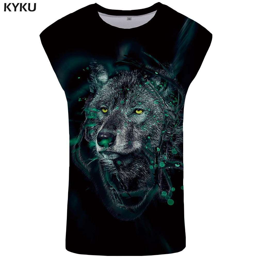 KYKU Brand Wolf   Tank     Top   Men Black Animal vest Stringer Mens Bodybuilding Clothing 3D Printed Undershirt Ftness Singlet