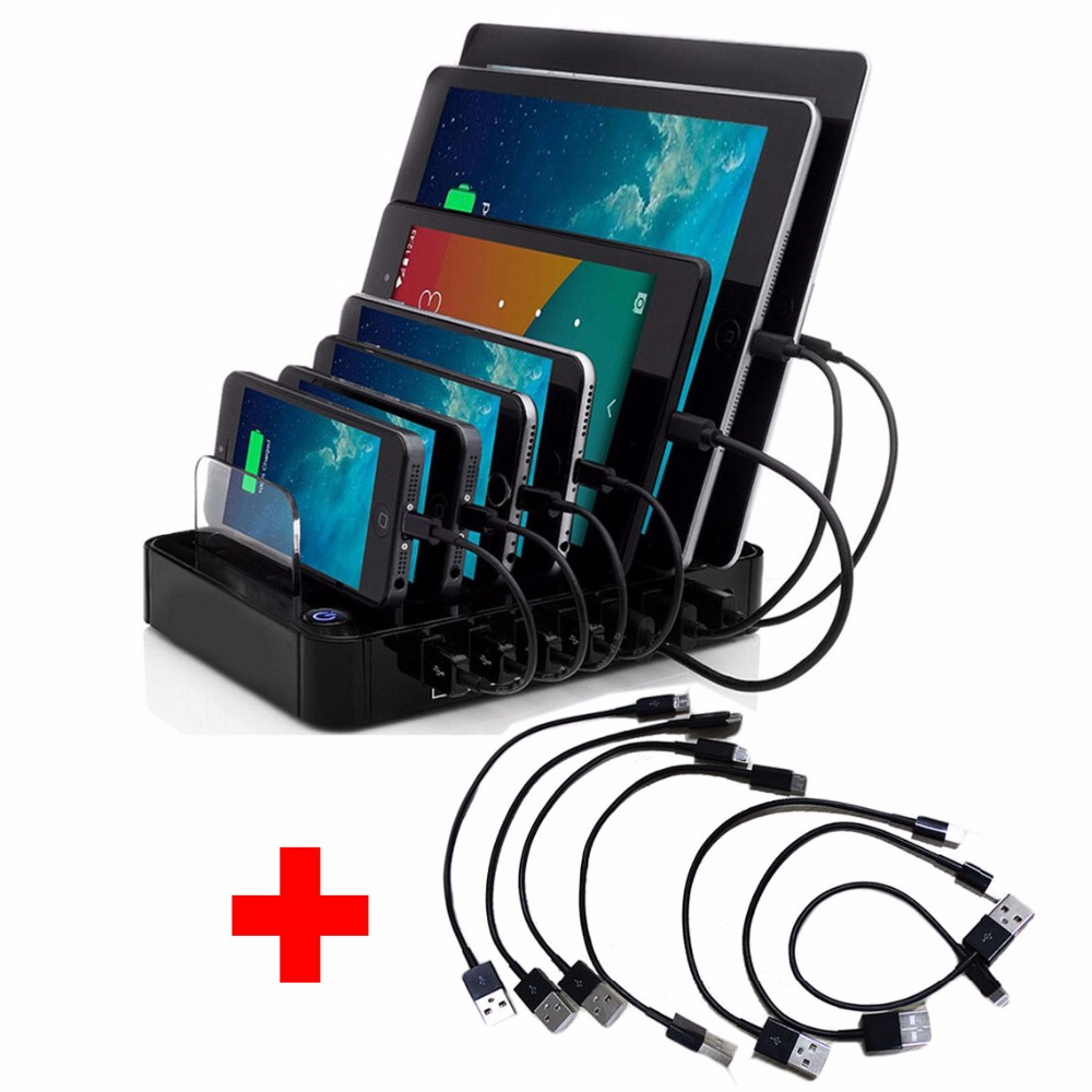 AC100-240V USB <font><b>Charger</b></font> Hub DC5V 7-port Quick Charging Station for Android Apple Mobile <font><b>Phone</b></font> and Tablet PC with 7pcs USB Cables