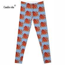 Leggings 2016 New Brand new red Octopus 3D Print Women Black High Waist Pants Wear Super Soft