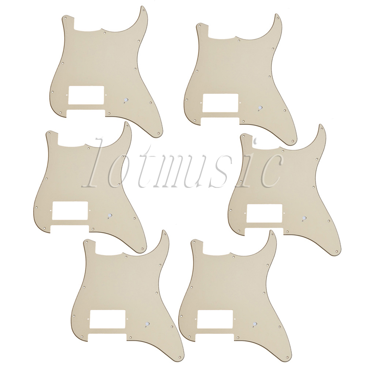 6Pcs New Beige 3Ply 11Hole Guitar Pickguard For Electric Strat Guitar Replacement new 1pcs electric guitar pickguard strat st yellow style 3 ply hsh a62