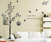 165*150cm(65*59 polegadas) adesivo de parede decorativo para sala de estar/quarto, papéis de parede da árvore preta, gaiola de pássaro, vinil