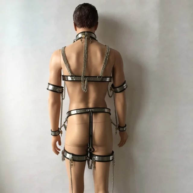 7pcs/set stainless steel male chastity belt bdsm bondage collar penis ring chastity cage male chastity device handcuffs for sex 10