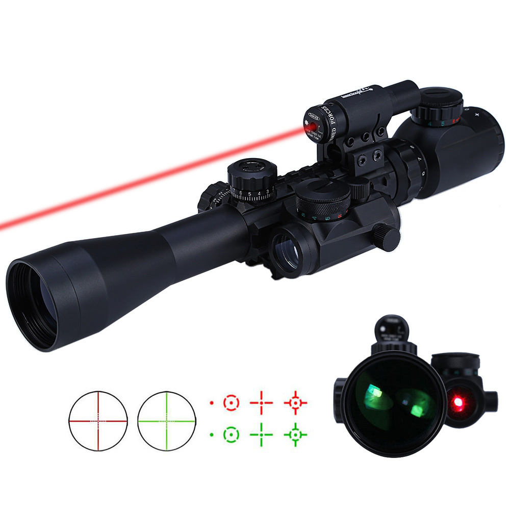 3-9X40 3 in 1 Red Dot Reflex Riflescope With 20mm Dovetail Red Laser Optics Sniper Scope Sight For Tactical Hunting Airsoft Gun 3 9x40 tactical hunting 3 in 1 combo rifle scope with red laser
