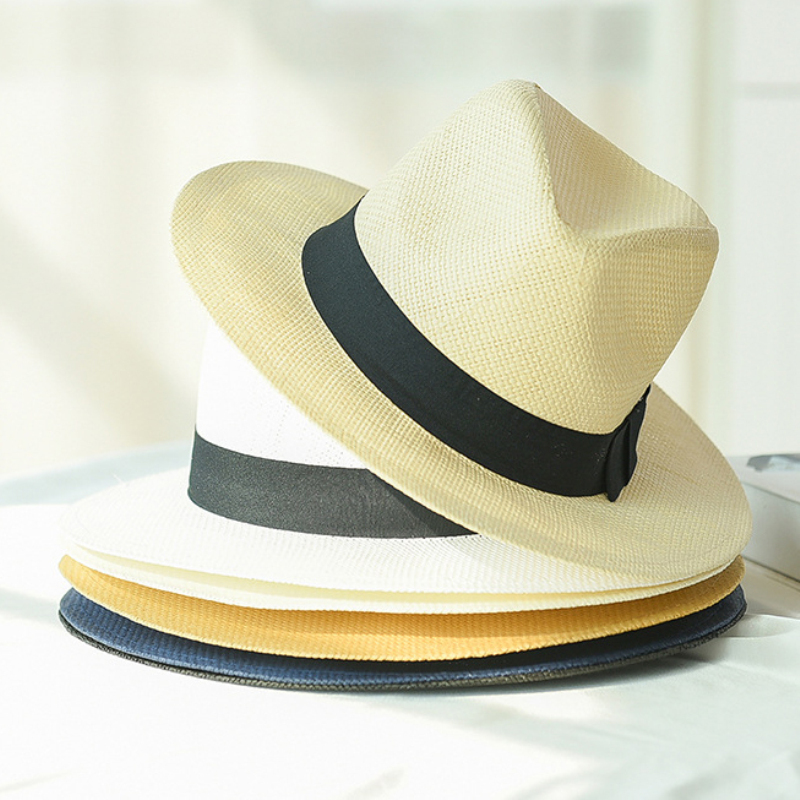HT2261 2019 New Summer Hats for Men Women Straw Panama Solid Plain Wide Brim Beach with Band Unisex Fedora Sun Hat