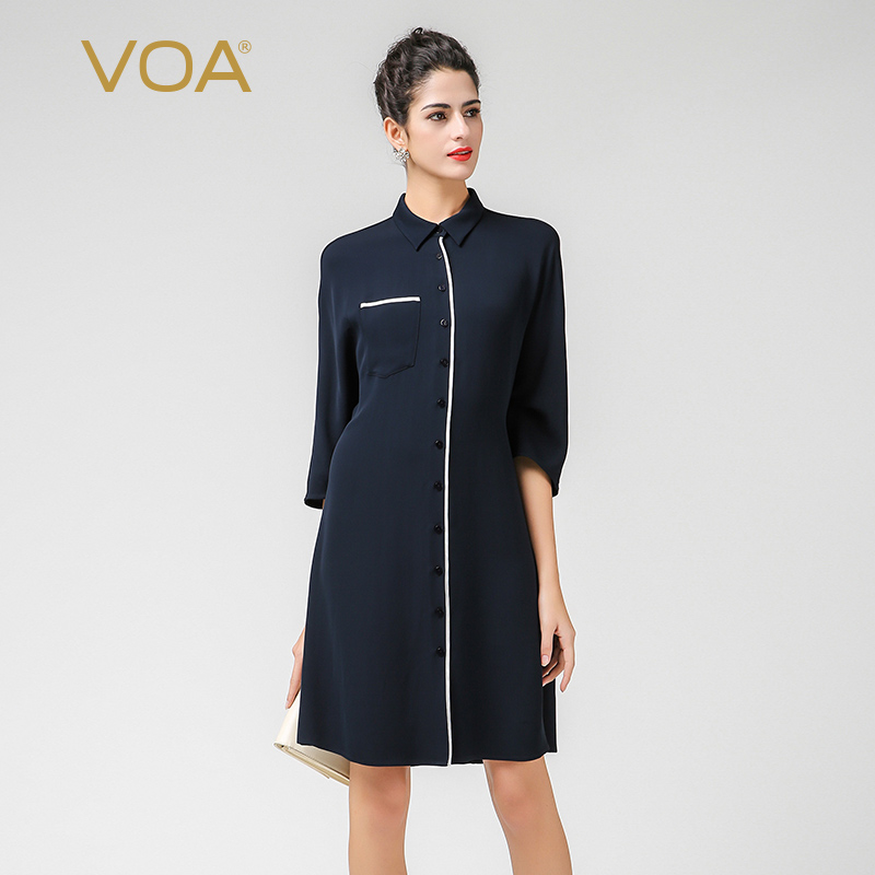 0542ef9c19e VOA Office Heavy Silk Blouse Plus Size 5XL Long Women Tops Navy Blue Casual  Cool Shirt Boyfriend Basic Formal Spring B7395