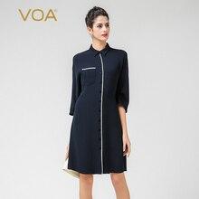 VOA Office Heavy Silk Blouse Plus Size 5XL Long Women Tops Navy Blue Casual Cool Shirt