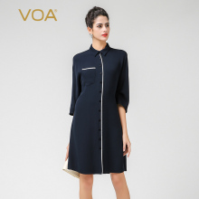 VOA Women's Silk Black Three Quarter Long Boyfriend Shirt Blouse Top B7395