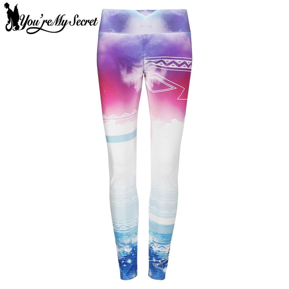 [Youre My Secret] Clouds Gradient Slim Design Leggings Women Beautiful Pattern Leggins Women Digital Print Fitness Women Pants