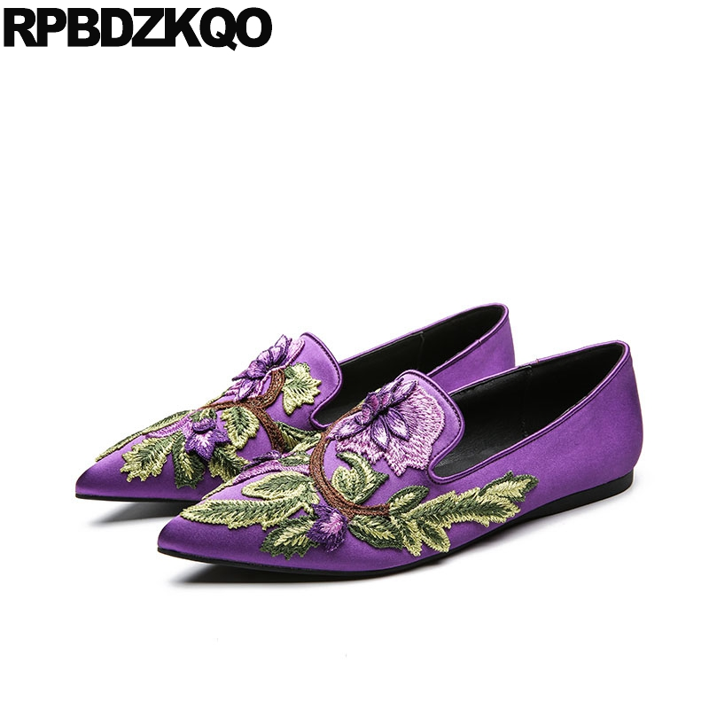 Mocassins À Floral Main purple Femmes De Glissement black Broderie Chine Full Satin Satin La Brodé Satin Soie Pointu white Designer Paon Pourpre green Satin blue Satin Fleur Appartements Satin denim Satin Chaussures Black Yv7fOqw