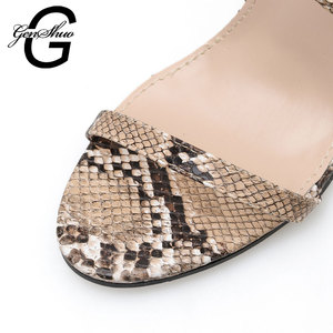 Image 5 - GENSHUO 2020 Summer Fashion Snake skin Ankle Strap Women Sandals Cross tied Super High Stiletto Heels Lady Pumps Sandals Shoes