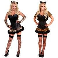 2016 New Fashion Luxury Halloween Fur Leopard Print Tiger Cat Women S Cosplay Costume Holloween Animal