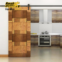 7 5FT Black Country American Style Straight Design Barn Wood Steel Modern Sliding Single Door Hardware