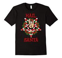 Hail Santa Shirt Funny Christmas T Shirt Rock Metal Gift O Neck T Shirts Male Low
