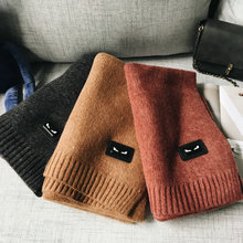42*200CM Small Monster Cartoon Adornment In Autumn and Winter, Thick Solid Color Wool Blend Warm Scarf BK07