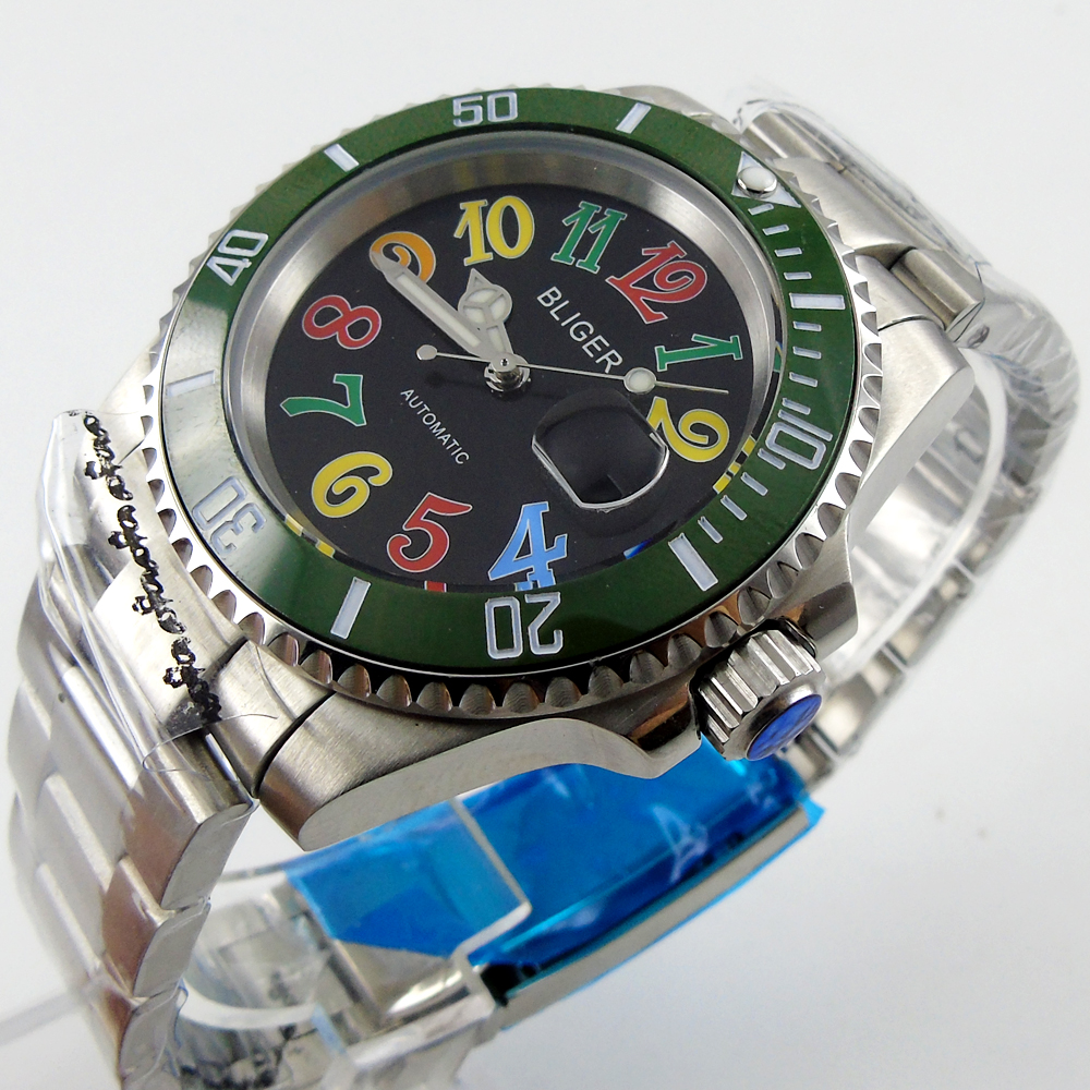 Bliger 40mm black dial date colorful marks saphire glass green Ceramic Bezel Automatic movement Men's watch bliger 40mm gray dial date blue ceramics bezel stainless steel case saphire glass automatic movement men s watch