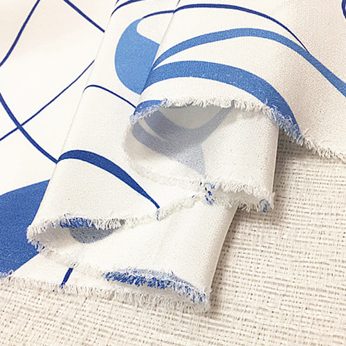 Blue white Abstract design silk Crepe DE chine silk fabric thick 29momme SCDC743
