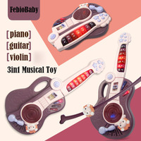 Multifunctional 3 in 1 Baby LED Musical Toys Early Educational Guitar/Piano/Violin 3 Modes Playing With Record Children Gifts