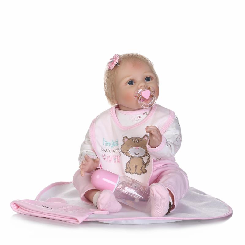 55cm Soft Silicone Reborn Girl Baby Doll Toy Realistic Lifelike Blonde Newborn Princess Babies Doll Lovely Birthday Gift Present 40cm silicone reborn baby doll toy for girls realistic newborn princess babies dolls lifelike lovely kid child birthday present