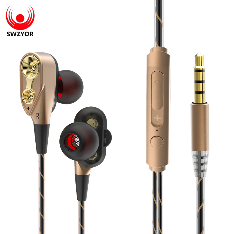 SWZYOR V3 Filaire Écouteurs Haute Basse Double Lecteur Stéréo In-Ear Écouteurs Avec Microphone Ordinateur Écouteurs Pour SmartPhone Sport
