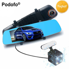 Podofo 5.0″ Car DVRS Full HD 1080p Dual Lens DVR Car Camera Dash Cam Mirror with Rear View Camera Video Recorder Night Vision